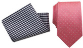 Geoffrey Beene Tie & Pocket Square Set - Spot/Navy