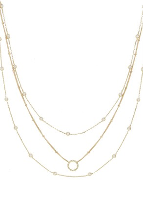 Ettika Triple Crystal Chain Necklace