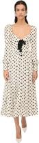 Alessandra Rich Polka Dots Silk Georgette Midi Dress