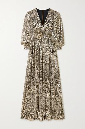 PatBO Belted Metallic Leopard-jacquard Maxi Dress - Black