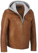 Wilsons Leather Mens Hooded Leather Bomber Jacket W/ Storm Collar