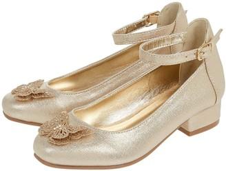 Monsoon Girls Fluttering Butterfly Mini Heel Shoes - Gold