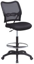 Office Star Air Grid Back & Mesh Seat Drafting Chair With Built-In Lumbar Support, Black