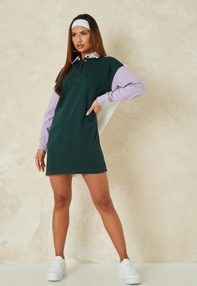 Missguided Green Color Block Rugby Shirt Dress