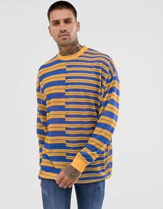 Asos Design DESIGN oversized longline long sleeve t-shirt in linen look splice stripe-Multi