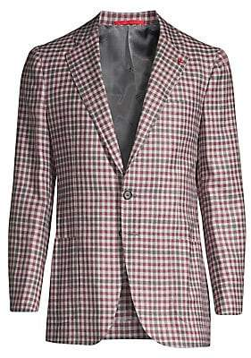 Isaia Men's Gingham Wool, Cashmere, Silk & Linen Single-Breasted Jacket
