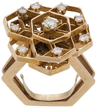 Katheleys Vintage 1970s 18kt Gold And Diamond Geometric Cutout Ring