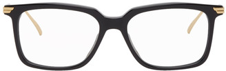 Bottega Veneta Black and Gold Square Acetate Glasses