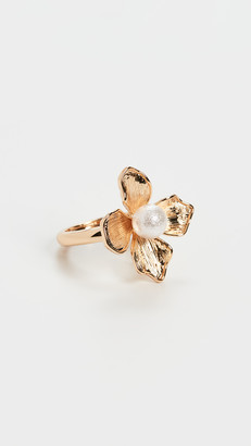 Kenneth Jay Lane Gold Ring with Imitation Pearl Center Flower