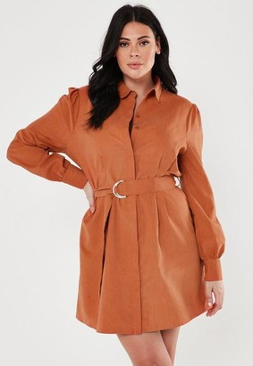 Missguided Plus Size Brown Belted Gathered Waist Shirt Dress