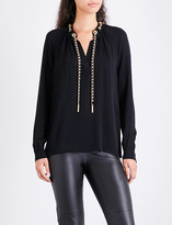 MICHAEL Michael Kors Chain-detailed silk-crepe top