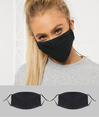 DesignB London Exclusive 2 pack face covering with adjustable straps in black