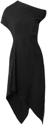 The Row Asymmetric Ribbed Wool-blend Midi Dress
