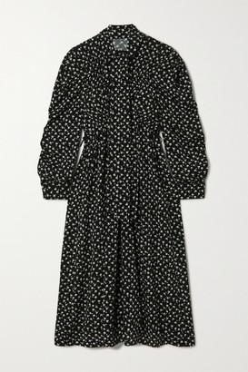 pushBUTTON Pussy-bow Floral-print Jersey Midi Dress - Black