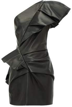 Alexandre Vauthier Flounced Leather Mini Dress - Womens - Black