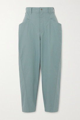 Isabel Marant Gubaia Cropped Cotton Tapered Pants - Gray green