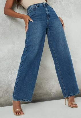 Missguided Petite Blue High Rise Wide Straight Leg Jeans