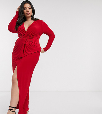 Club L London Plus twist front maxi dress in red