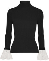 Philosophy di Lorenzo Serafini - Velvet And Lace-trimmed Ribbed-knit Turtleneck Sweater - Black