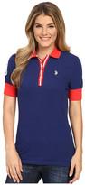 U.S. Polo Assn. Striped Placket Stretch Pique Polo Shirt