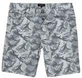 River Island Mens Grey camo frayed shorts