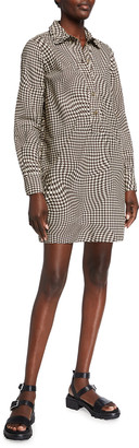 Ganni Spiral Houndstooth Cotton Poplin Mini Shirtdress