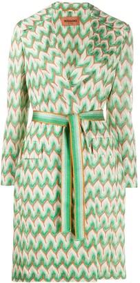 Missoni Chevron-Pattern Belted Coat