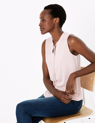 Marks and Spencer Tie Neck Sleeveless Shell Top