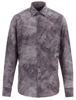 Regular-fit shirt in overprinted cotton flannel