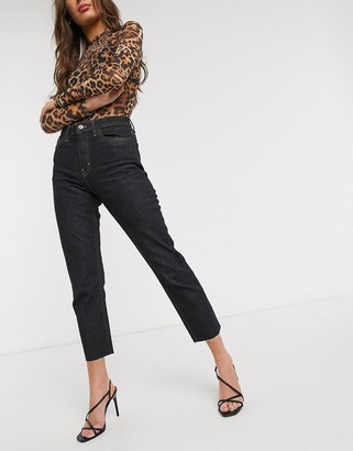 Topshop straight leg jeans with frayed hem in raw black