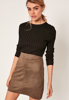 Missguided Khaki Faux Suede Stitch Front A-Line Mini Skirt