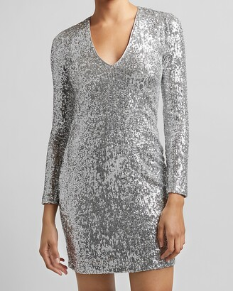 Express Sequin V-Neck Sheath Dress