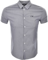 Giorgio Armani Jeans Slim Fit Check Shirt Blue