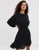 Asos DESIGN mini dress with elasticated waist in mono spot