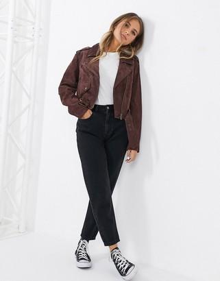 ASOS DESIGN suede biker jacket in brown