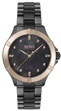 BOSS Grey-plated watch with golden bezel and crystal hour markers