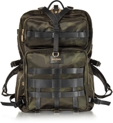 Balmain Military Green Camouflage Canvas and Leather Men's Backpack