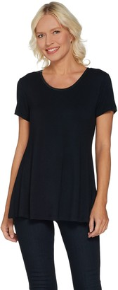 Halston H by Essentials Short Sleeve U-Neck Tunic with Side Slits