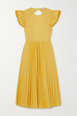 RED Valentino Open-back Pleated Cotton-blend Poplin Midi Dress - Yellow