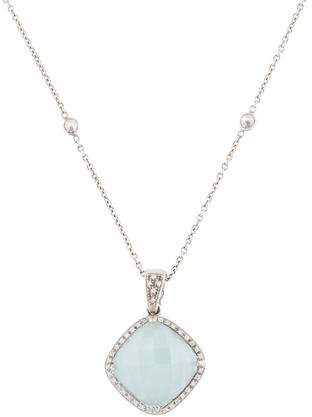 Rina Limor Fine Jewelry 18K Aquamarine & Diamond Pendant Necklace