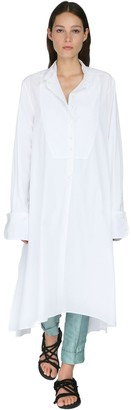 Ann Demeulemeester Cotton Poplin Shirt Dress W/ Plastron