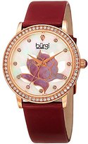 Burgi Women's Swarovski Crystal Accented Rose-Tone Bezel and Flower Design Mother-of-Pearl Dial on Red Genuine Leather Strap Watch BUR159RD