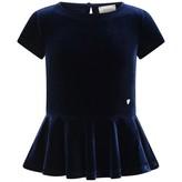 Armani Junior Armani JuniorGirls Navy Blue Velvet Dress