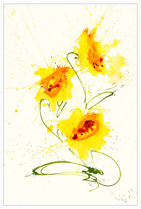 Jonathan Bass Studio Abstract Tulip, Decorative Framed Hand Embellished Canvas