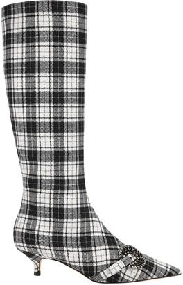 Christian Dior Gang Tartan Kitten Heel Boots
