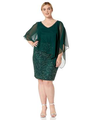 J Kara Women's Plus Size Caplet Short Cocktail Beaded Dress
