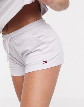 Tommy Hilfiger Flag Core logo sleep shorts in lilac
