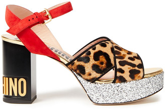Moschino Glittered, Suede And Leopard-print Calf Hair Platform Sandals