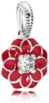 Pandora Oriental Bloom Pendant Charm - Enamel / Sterling Silver / Red