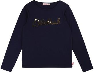 Billieblush Girls Long Sleeve Metallic Logo T-shirt - Blue